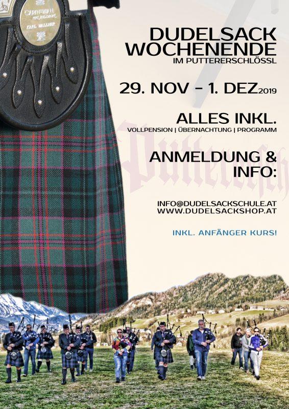 Flyer Poster Dudelsack Anfänger Kurs Wochenende Aigenim Ennstal Puttererschlössl