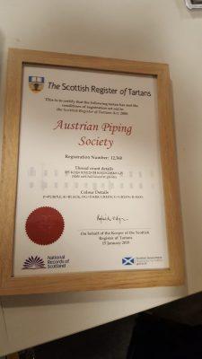 Österreichischer Tartan - Karo Muster Austrian Piping Society Zertifikat